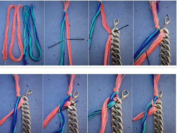 Вплетайте нитки в цепочку так, как показано на фото. Чтобы делать это было удобнее, используйте невидимки для волос.