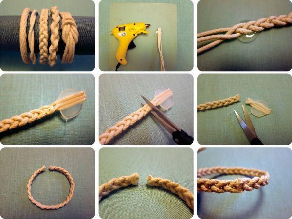 Из веревки сплетите браслеты. Края обработайте горячим пистолетом.