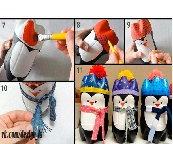 Нарисуйте снеговика. На шею повяжите вязаный шарфик. Забавный пингвинчик готов!