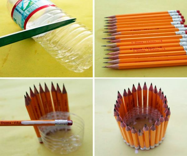 Оригинальную карандашницу можно сделать из пластиковой бутылки. Необходимо отрезать ее нижнюю часть и обклеить ее простыми карандашами.