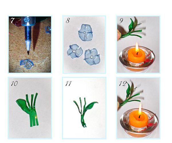Оплавить над свечой нужно и веточку. Придайте листкам изогнутую форму.