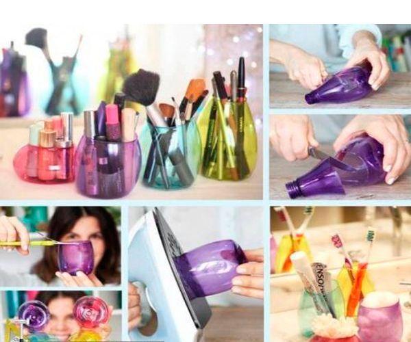 Из бутылки можно сделать красивый стаканчик для хранения мелочей. Для этого обрежьте бутылку и оплавьте края с помощью утюга.