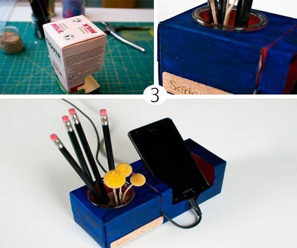 Проделайте отверстие под баночку для хранения ручек и карандашей. Для этого прежде всего измерьте диаметр подобранной емкости.