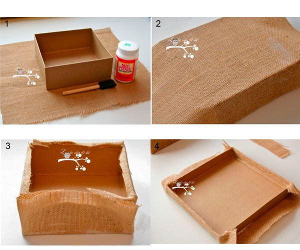 Обтяните коробочку мешковиной, закрепляя ее клеем. Дно также можно обклеить мешковиной.