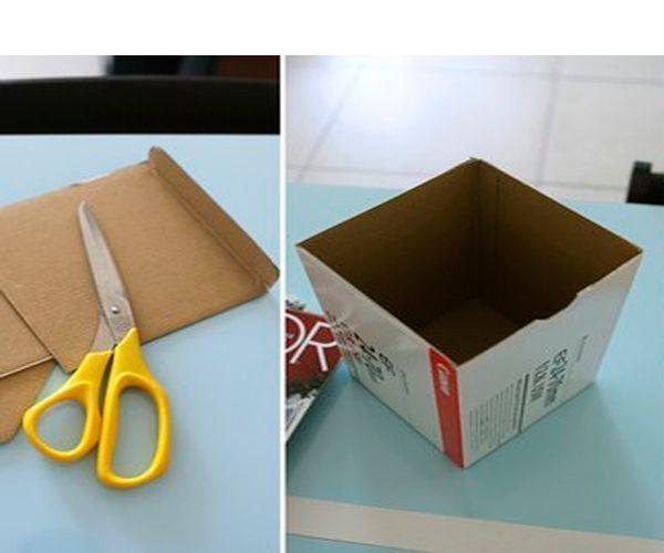 Подготовьте коробку, срежьте все лишние части. Из бумаги скрутите плотные трубочки, края закрепите клеем.