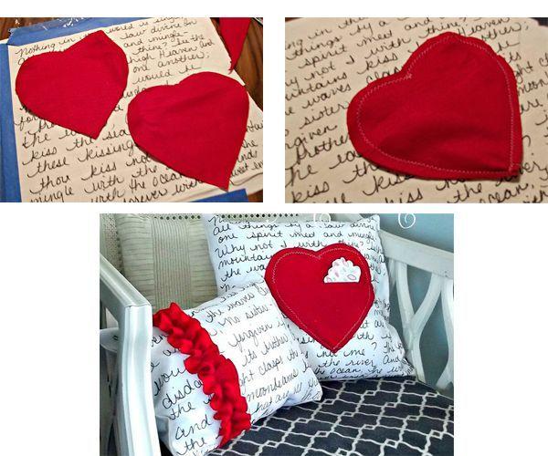 Сшейте детали сердца, добавив немного наполнителя. Пришейте к ткани-основе. Заполните подушку наполнителем.