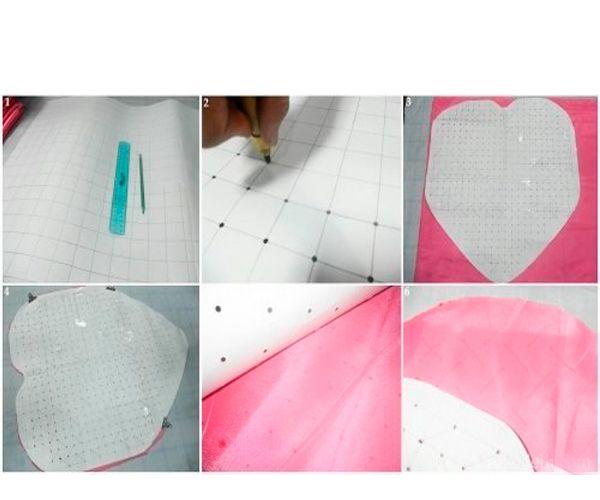 Пробойником сделайте отверстия в вершинах каждого отрезка. В дальнейшем через эти дырочки вы будете ставить точки на ткань. Такой шаблон во многом облегчает работу.