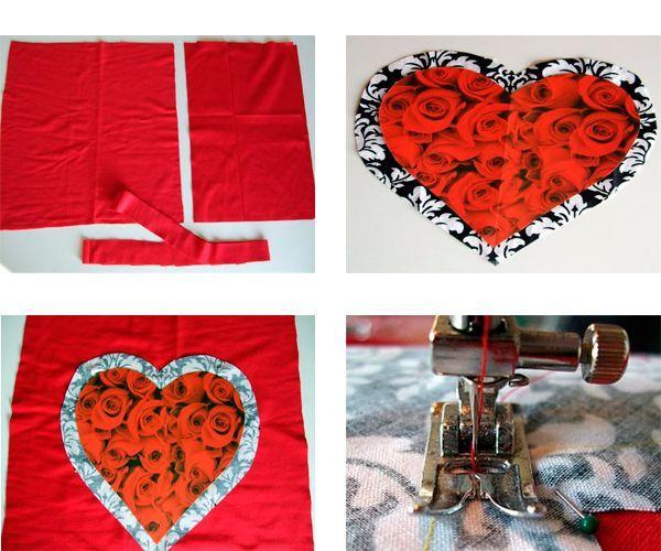Вырежьте из красной ткани квадрат нужного вам размера. При раскрое учитывайте, что к длине и ширине детали нужно прибавить припуски на швы 1-1,5 см. Из картона вырежьте сердце правильной формы. Приложите его к отделочной ткани, сделайте примерно 3 сантиметра запаса и выкройте сердце из ткани.
