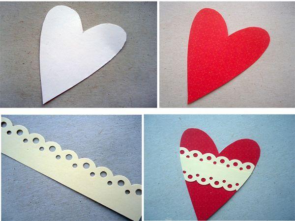 Вырежем из акварельной бумаги сердце. Положим сердце на бумагу для скрапбукинга красного цвета, обведем контур. Потом на скрап-бумаге сделаем контур сердца на пару миллиметров меньше и вырежем еще одно сердце.