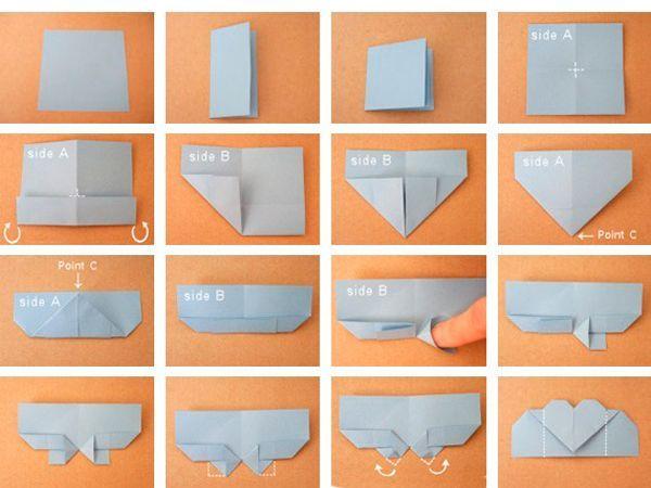 Нам понадобится квадратный лист бумаги. Лучше, если он будет плотным. Складываем его так, как показано на фото.