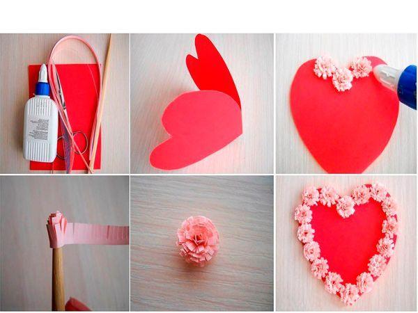 Из красного картона делаем основу-сердце. Полочки цветной бумаги нарежем бахромой и обернет вокруг зубочистки. Получится цветок. Приклеим на основу. Делаем завитки из бумаги и также приклеиваем их к основе.