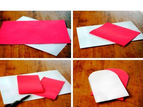 Берем два листа бумаги. Сгибаем их пополам. Скругляем углы так, как показано на фото.