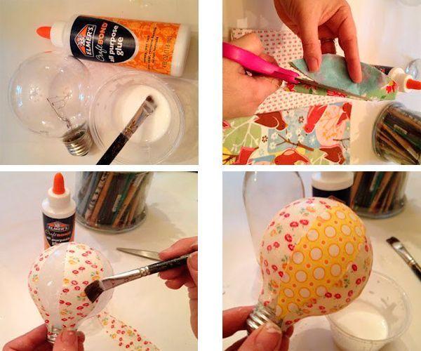 Нужно нарезать салфетки на полоски одинаковой ширины. Обклеить лампочку тканью. Удобнее это делать, нанося клей кисточкой.
