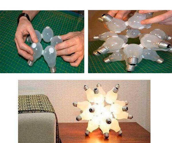 Нужно приклеить липучки в отмеченных местах. Соберите лампочки в единую конструкцию. Подключите.