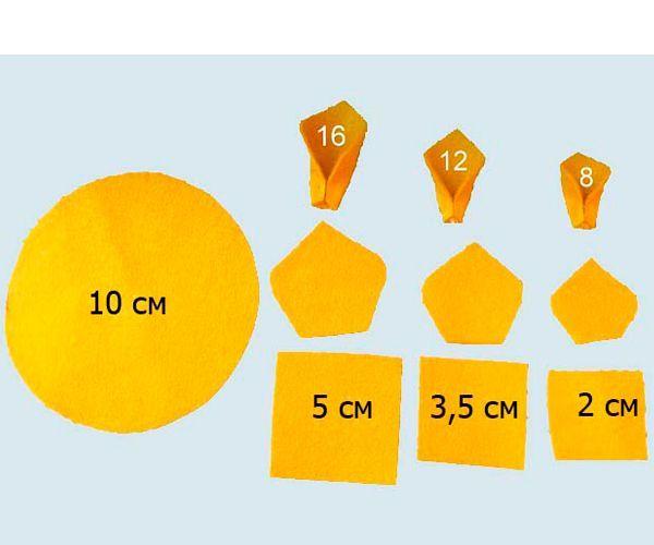 Для изготовления подсолнуха из фетра нам понадобятся такие детали, как на фото. Склеиваем лепестки. Больших понадобится 16 штук, средних 12 и маленьких 8.