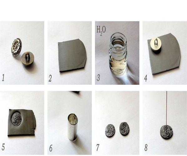 Чтобы бусина была текстурной, нужно отпечатать пуговицу на пласте полимерной глины.