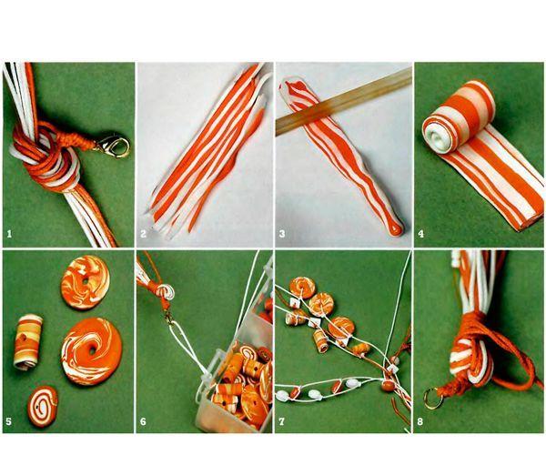 Тоненькие колбаски двух цветов нужно соединить, раскатать скалкой и нарезать. Получатся симпатичные бусины-шайбы.