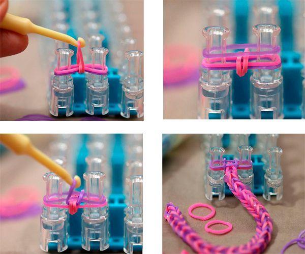 Нижнюю резинку крючком для вязания снимите с зубцов. Она должна обернуть две другие резинки. Наденьте сверху еще одну резиночку, с  нижней проделайте то же самое.