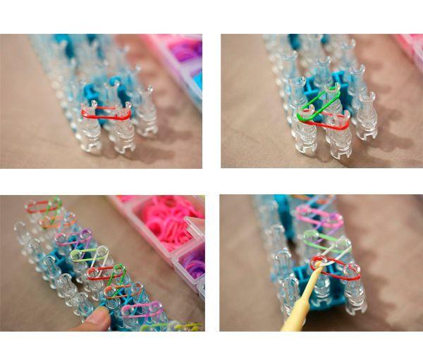 Наденьте резинки на зубцы станка так, как показано на фото. Если делаете разноцветный браслет, следите, чтобы цвета правильно чередовались.