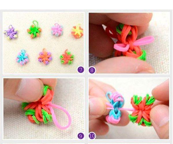 Для одного браслета сделайте 8-10 штук таких цветочков разных цветов. Проденьте через них резинку.