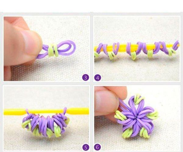 Наденьте резиночки на карандаш так, как показано на фото. Сформируйте цветочек.