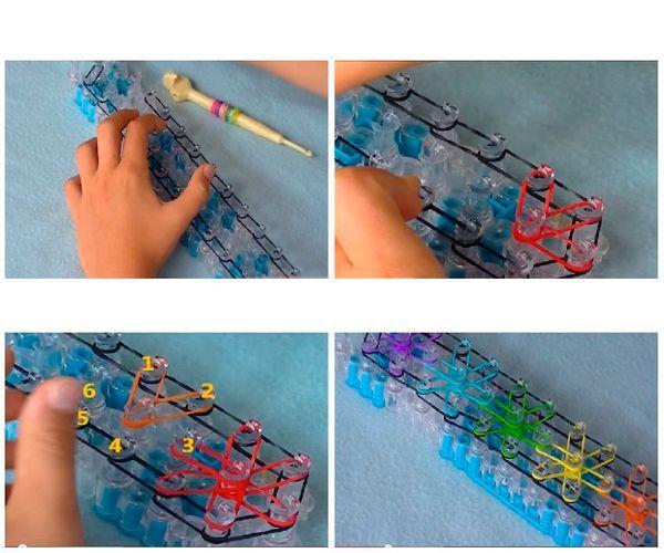 Красивые браслеты из резинок получаются с узором звездочки. Нужен будет станок с тремя рядами столбиков. На этой основе сделайте звездочки по шесть лучей в каждой.