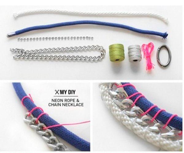 К одному из толстеньких шнуров привяжите тонкий шнур 0.5-1 мм, отступив от конца примерно 10 см. Затем на этом же уровне расположите цепь с крупными звеньями. Начинайте скреплять шнур и цепь между собой по спирали, для этого тонкий шнур оборачивайте вокруг толстого шнура и проходя сквозь звенья цепи.