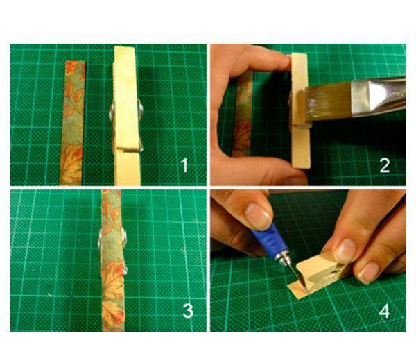 Вырежем из плотной узорной бумаги полоску с такими же размерами, как деревянная прищепка. Нанесем клей на прищепку, приклеим бумагу и после того, как изделие высохнет, обрежем острым канцелярским ножом лишнюю бумагу.