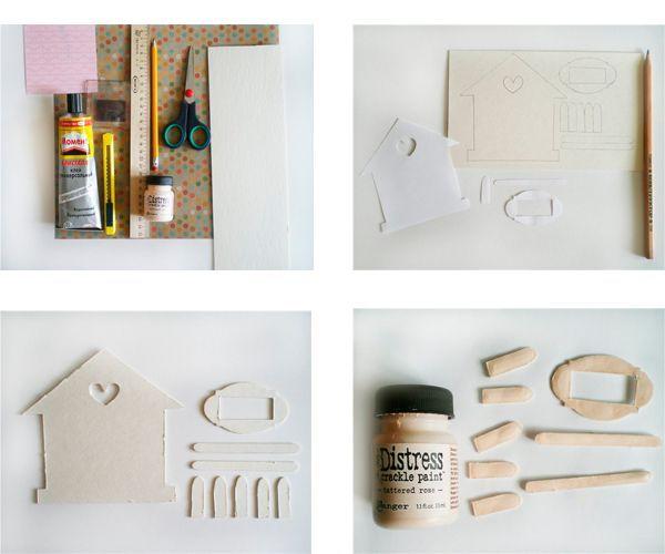 Обводим шаблоны на картоне: 1 шт. домик, 1 шт. рамку, 5 шт. коротких деталек для забора и 2 шт. длинных. Покрываем детальки кракелюром.
