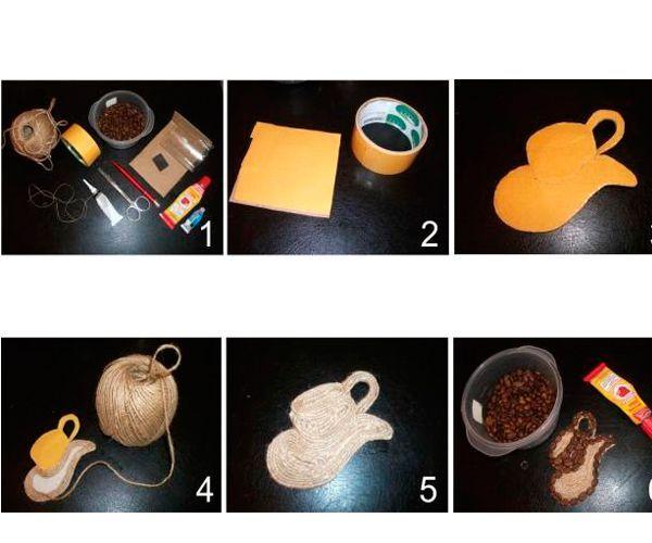Вырезаем из картона квадратик в размер желаемого магнита и обклеиваем его двусторонним скотчем. Снимаем частями пленку со скотча и укладываем на скотч шпагат. Подклеиваем кончики шпагата.