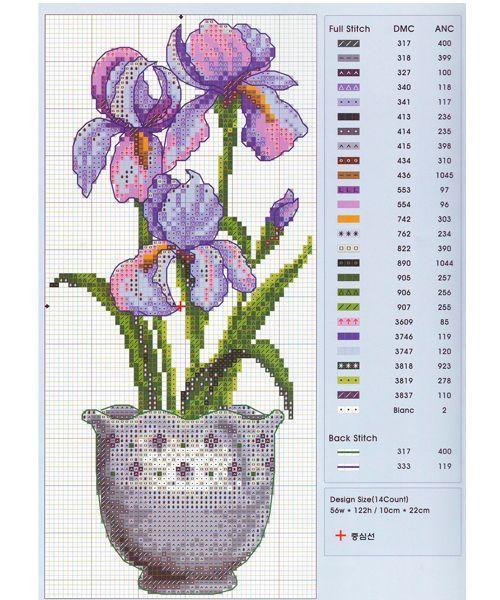Схемы цветка для вышивки крестом