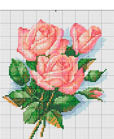 27 схем вышивки цветов