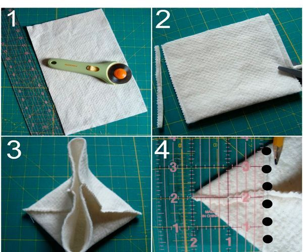 Прямоугольный кусок фетра сшей по бокам. Чтобы корзинка была устойчивой, уголки отрежьте и сшейте края. Не забудьте также сделать бортик, отогнув край корзинки наружу.
