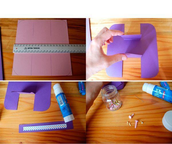 Сделайте заготовку из картона, как показано на фото. Согните и придайте форму.
