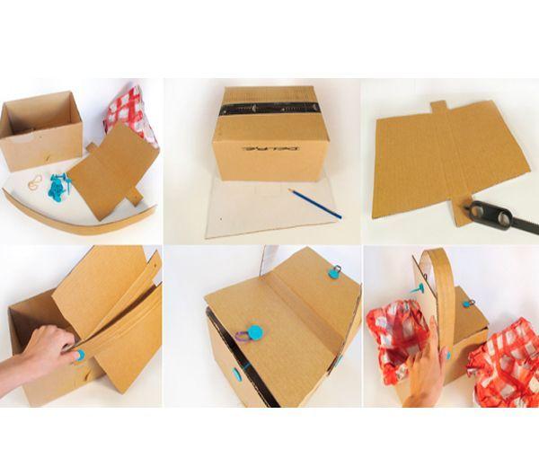Сложите коробку так, как показано на фото. Сделайте и прикрепите ручку. Декорируйте.