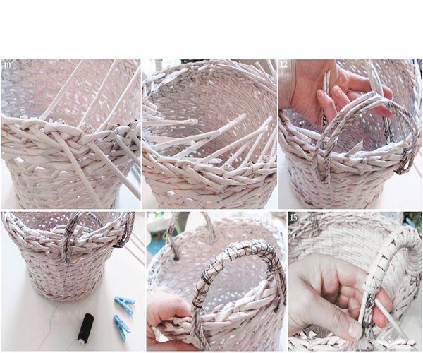 Далее приступите к стенкам. Обязательно сплетите первый ряд веревочкой из 3 или 4 трубочек, затем проплетите два–три ряда веревочкой. Затем заправьте рабочие трубочки, обрежьте лишние кончики.
