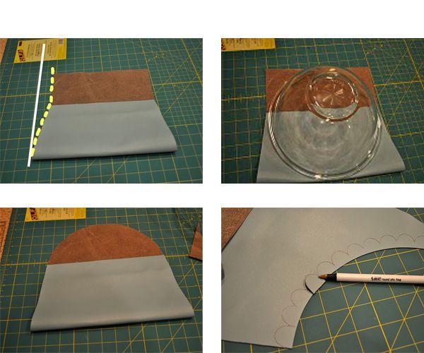 Сложим прямоугольник кожи так, как показано на фото. Край сделаем полукруглым. Лишнее обрежем.