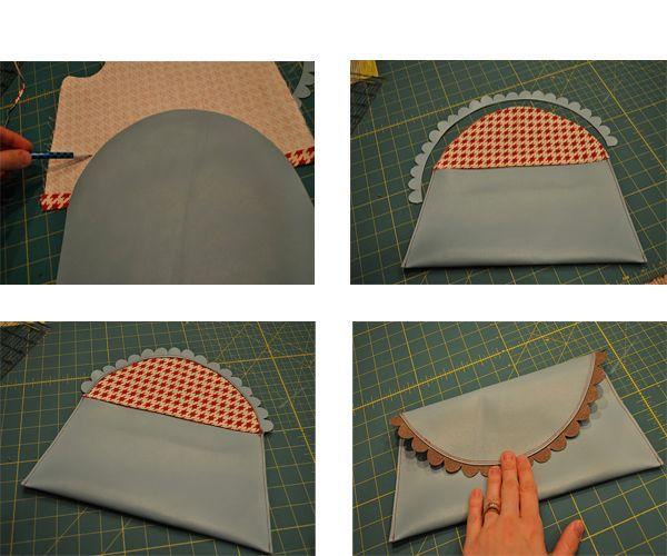 Прострочим клатч по бокам, выкроим декор из ткани и пристрочим его к клатчу.