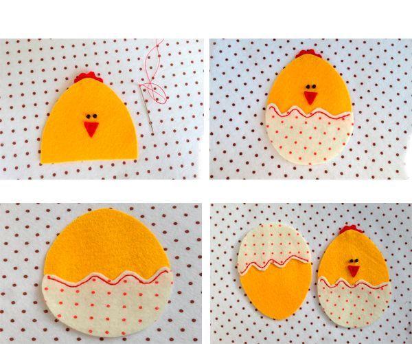 Вырезаем детали цыпленка, пришиваем бусинки-глазки, ротик из треугольника красного фетра. Сшиваем детали между собой.