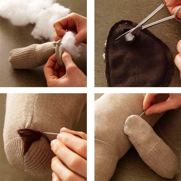 Из шарфа делаем уши, нос вышиваем мулине. Сшиваем детали.