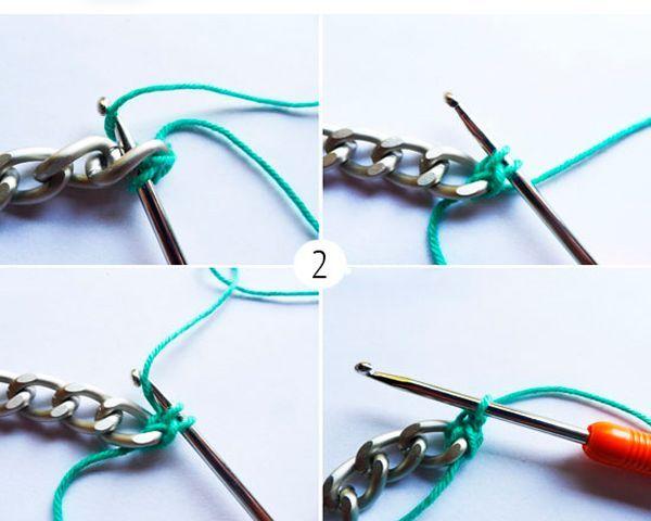 Аналогично проделанному в предыдущем шаге, обвяжем все звенья цепочки. В зависимости от размера звеньев меняется количество связанных петель.
