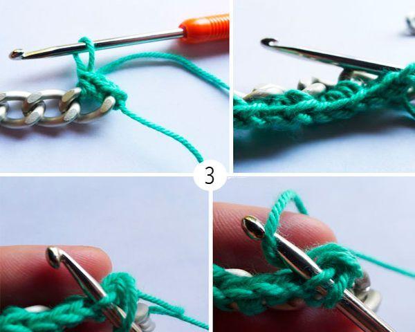 Когда дойдем до конца, развернем цепь (при желании) и повторим те же шаги, продевая крючок в образованные ранее петли.