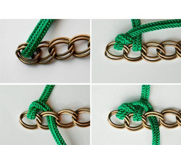 Оплетем цепочку с одной стороны шнуром так, как показано на фото.