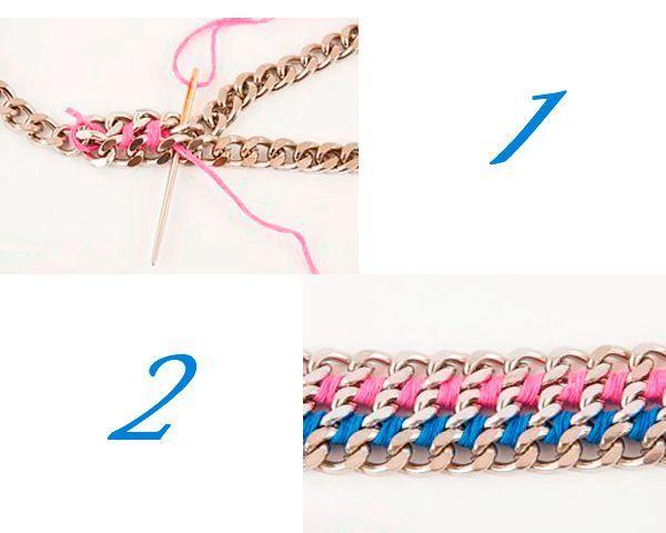 С помощью мулине соединяем цепочки между собой так, как показано на фото.