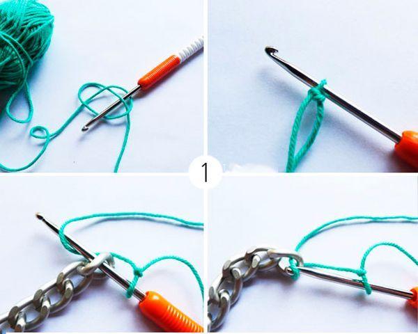 Для того чтобы обвязать цепочку, проденем крючок в первое звено, захватим нить и протащим ее через цепь. Далее захватим пряжу еще раз и проденем сквозь получившиеся петли.