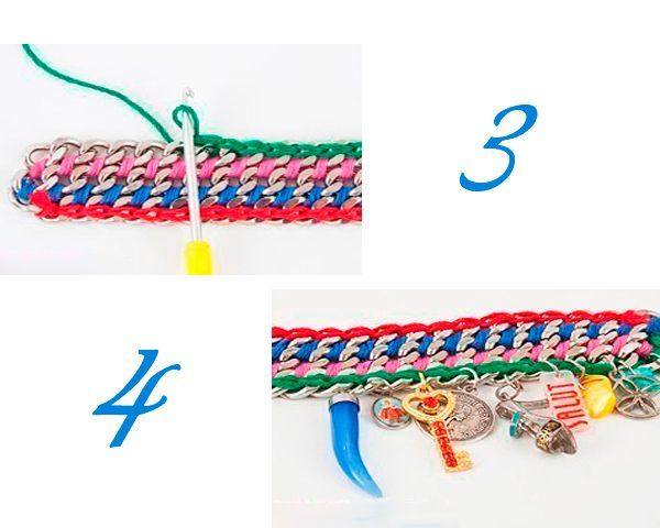 Крючком обвязываем звенья с наружной стороны. Крепим подвески.