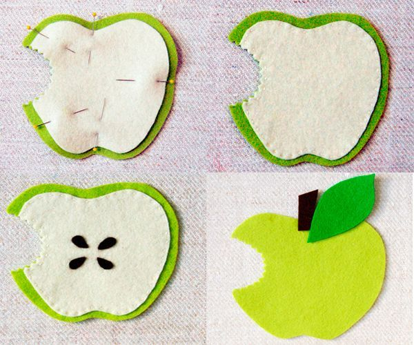 Сшейте детали между собой. Косточки из коричневого фетра приклейте на белую деталь. С обратной стороны приклейте хвостик и листочек.