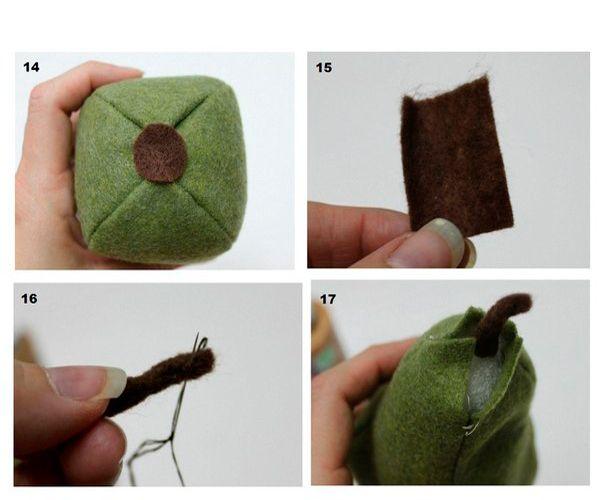 Снизу приклейте кружок из коричневого фетра. Сделайте хвостик и вшейте его в грушу. Готово.