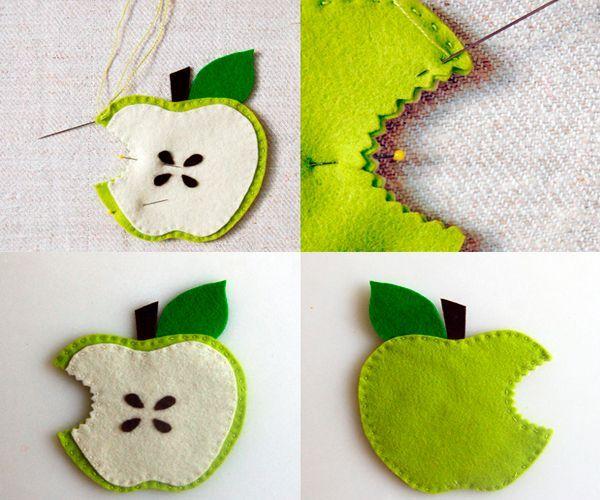 Обшейте яблочко по контуру. Наше яблочко готово! Если сделать много одинаковых яблок, можно собрать их в гирлянду.
