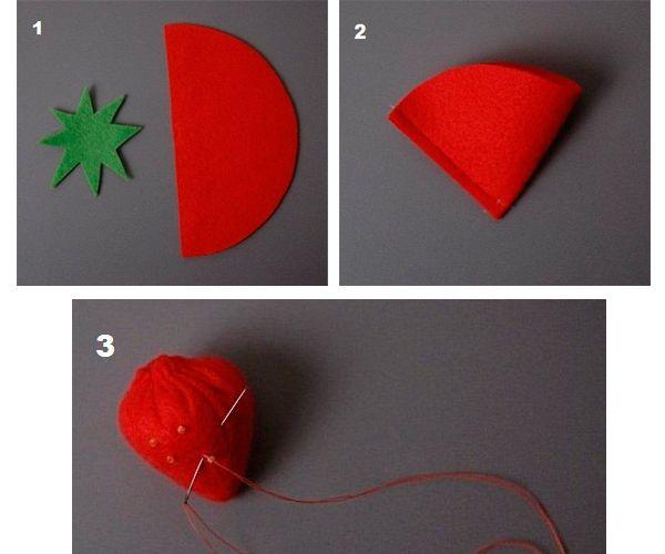 Вырежьте из зеленого фетра многоконечную звезду, а из красного фетра полукруг. Сшейте его, чтобы образовался конус.